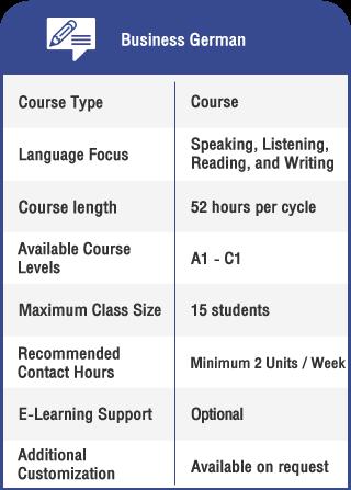 Anglokom Corporate Language Training Bangkok - Business German Course Specifications